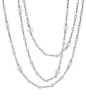 "David Yurman - Sterling Silver Continuance Pearl Small Chain Necklace, 36"""