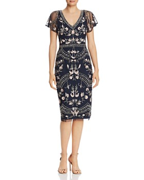6a59fb9d476 Adrianna Papell - Beaded Flutter-Sleeve Sheath Dress ...