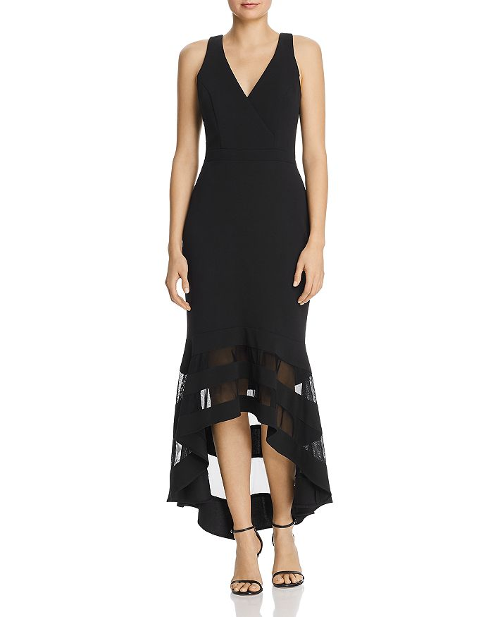 Avery G - Mesh-Trim Midi Dress
