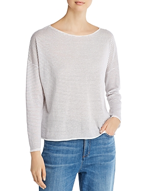 Eileen Fisher Striped Raw-Edge Sweater