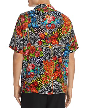 Versace Jeans Couture - Short-Sleeve Floral Optic-Print Regular Fit Shirt