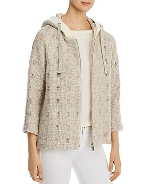 Herno Hooded Metallic Tweed Windowpane Jacket - 100% Exclusive-Women