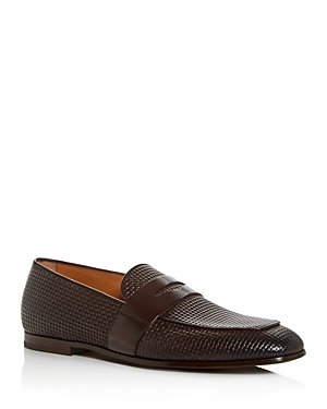 Boss Loafers MEN'S SAFARI EMBOSSED LEATHER LOAFERS
