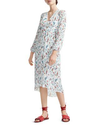 Rasiona Pleated Floral Print Midi Dress by Maje