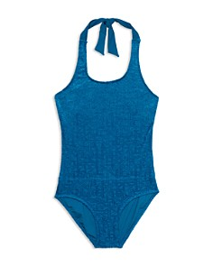 Gossip Girl - Girls' Textured One-Piece Halter Swimsuit - Big Kid