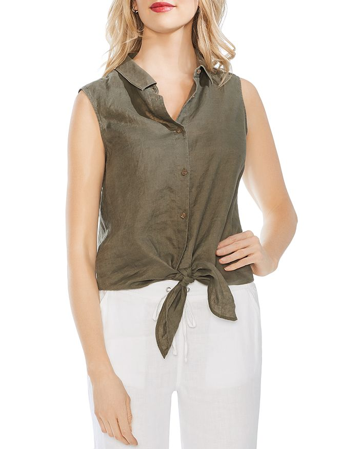 VINCE CAMUTO - Sleeveless Tie-Front Linen Shirt