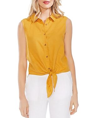 Vince Camuto T-shirts SLEEVELESS TIE-FRONT LINEN SHIRT