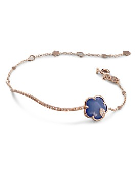 Pasquale Bruni - 18K Rose Gold Joli Agate & Lapis Doublet Station Bracelet with Champagne & White Diamonds