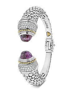 LAGOS - Sterling Silver & 18K Yellow Gold Caviar Color Cuff with Diamonds & Amethyst