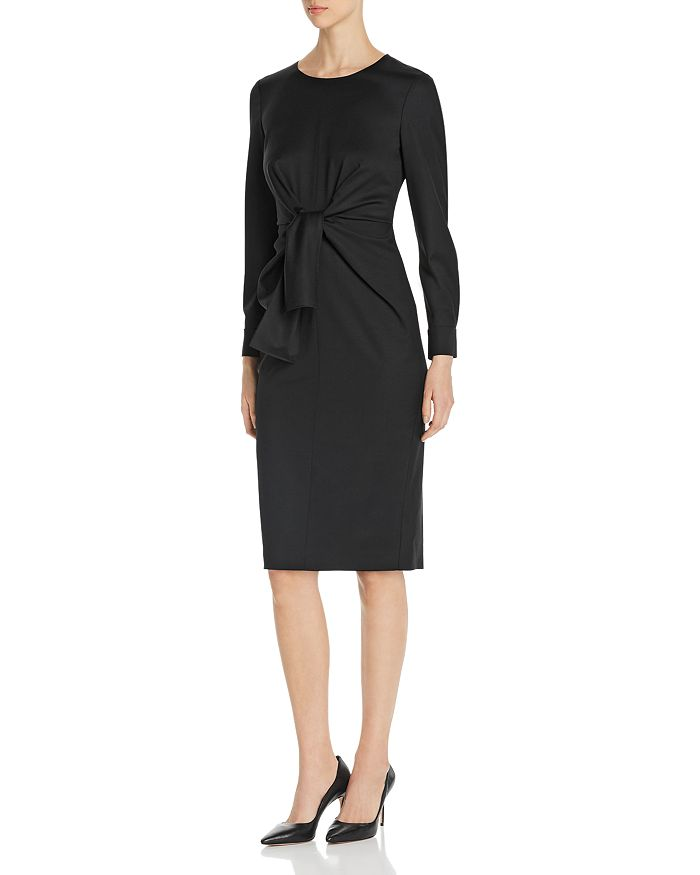 Max Mara - Chiffon Tie-Front Wool Sheath Dress