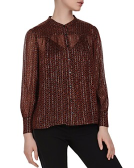 ba&sh - Wize Metallic Herringbone Print Blouse