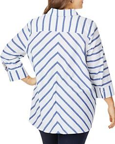 Foxcroft Plus - Carlene Nautical-Stripe Shirt