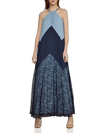 BCBGMAXAZRIA - Color-Block Pleated Maxi Dress
