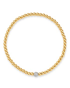 Zoe Lev - 14K Yellow Gold Diamond Accent Bead Bracelet