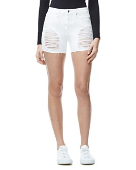 Good American - The Cutoff Denim Shorts in White004