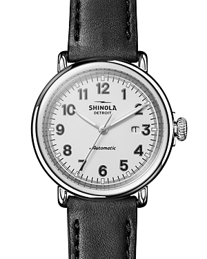 Shinola The Runwell Black Leather Strap Automatic Watch, 45mm