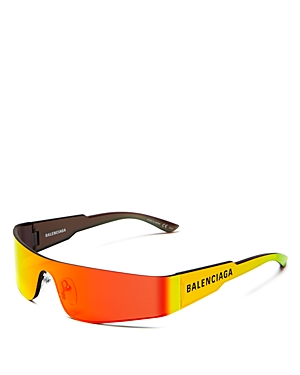 Balenciaga Unisex Wraparound Shield Sunglasses, 185Mm In Solid Gray/Yellow Mirror