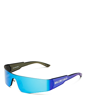 Balenciaga Unisex Wraparound Shield Sunglasses, 185Mm In Solid Gray/Blue Mirror