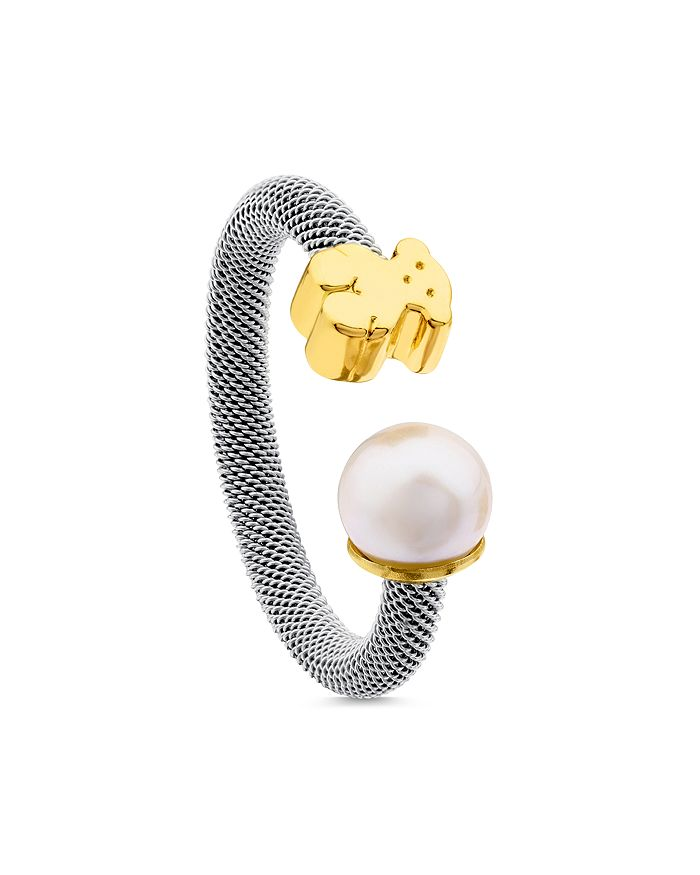 TOUS - 18K Yellow Gold Bear Cultured Freshwater Pearl Ring