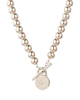 Ralph Lauren - Beaded Logo Pendant Necklace, 17""