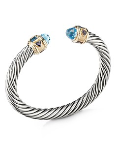 David Yurman - Sterling Silver Renaissance Bracelet with Blue Topaz & 14K Yellow Gold