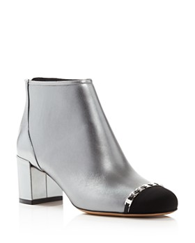 e357713efef Salvatore Ferragamo - Women s Atri Cap-Toe Metallic Leather Ankle Booties  ...
