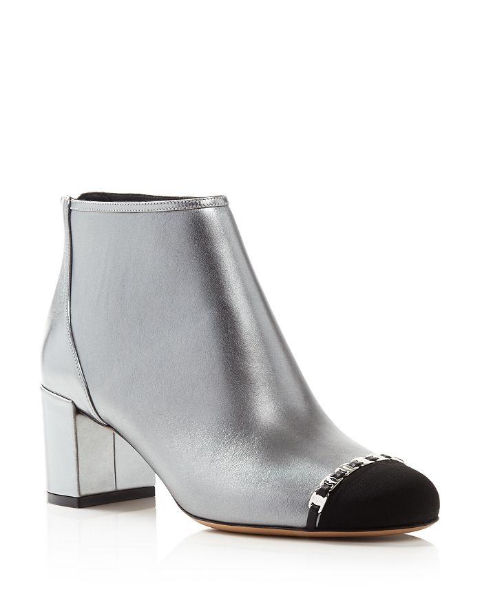 Salvatore Ferragamo - Women's Atri Cap-Toe Metallic Leather Ankle Booties