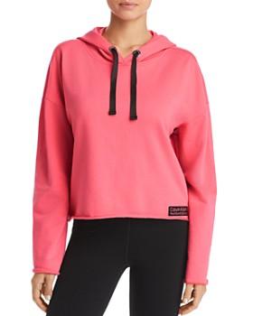 Calvin Klein - Raw-Edge Cropped Hooded Sweatshirt