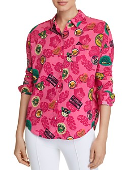 Scotch & Soda - Tropical-Print Boxy Button-Down Top