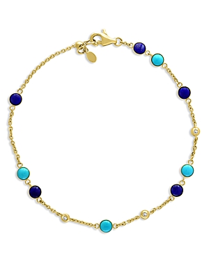 Bloomingdale's Lapis Lazuli, Turquoise & Diamond Accent Bracelet in 14K Yellow Gold - 100% Exclusive