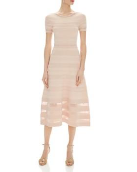 Sandro - Roselle Mesh & Eyelet Inset Midi Dress
