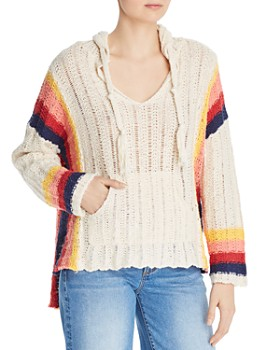 Vintage Havana - Retro-Stripe Crochet Hooded Sweater