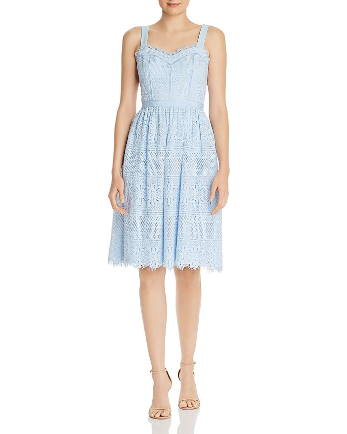 AQUA - Fit-and-Flare Lace Midi Dress - 100% Exclusive