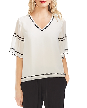 Vince Camuto Tops EMBROIDERED CHIFFON BLOUSE