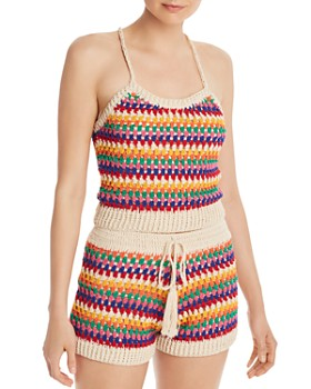 AQUA - Rainbow-Stripe Crochet Cropped Top - 100% Exclusive