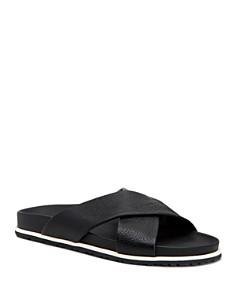 Aquatalia - Men's Tanner Pebbled Leather Slide Sandals