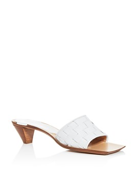 Bottega Veneta - Women's Woven Kitten-Heel Slide Sandals
