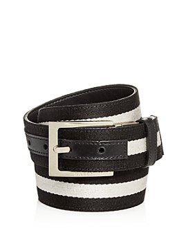 Bally - Men's Striped Canvas & Leather Reversible Belt