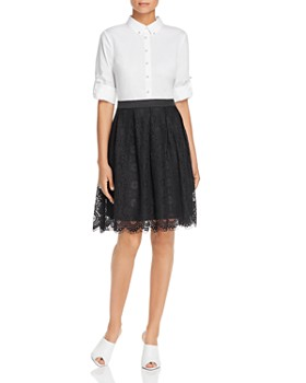 KARL LAGERFELD Paris - Lace Combo Shirt Dress