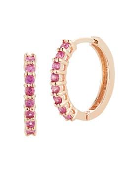 MATEO - 14K Rose Gold Pink Sapphire Huggie Hoop Earrings