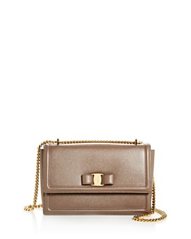 Salvatore Ferragamo - Medium Ginny Bow Leather Shoulder Bag
