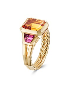 David Yurman - 18K Yellow Gold Novella Three-Stone Ring with Madeira Citrine & Rubellite