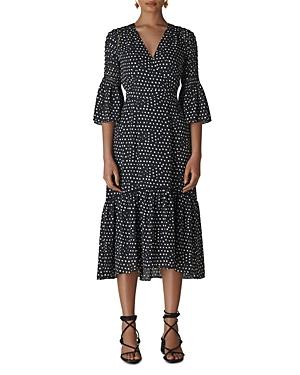 Whistles Advika Dot-Print Midi Dress