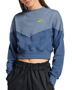 Nike - Color-Block Cropped Fleece Sweatshirt