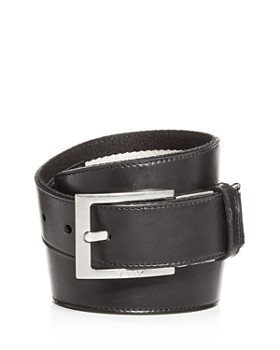 Bally - Men's Striped Canvas & Leather Reversible Belt