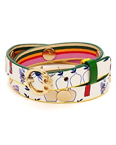 Tory Burch - Printed Reversible Leather Wrap Bracelet