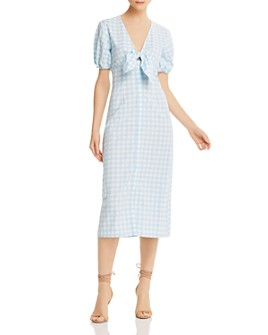 The Fifth Label - Nouveau Tie-Detail Gingham Midi Dress
