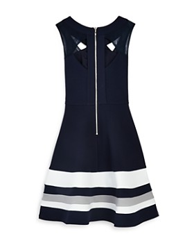 US Angels - Girls' Striped Cutout Dress - Big Kid
