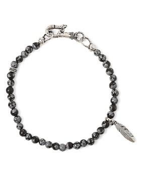 John Varvatos Collection - Sterling Silver Mercer Obsidian Beaded Feather Charm Bracelet