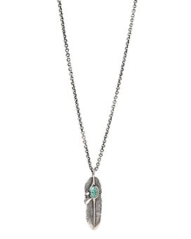 """John Varvatos Collection - Sterling Silver Artisan Metals Feather Turquoise Pendant Necklace, 24"""""""
